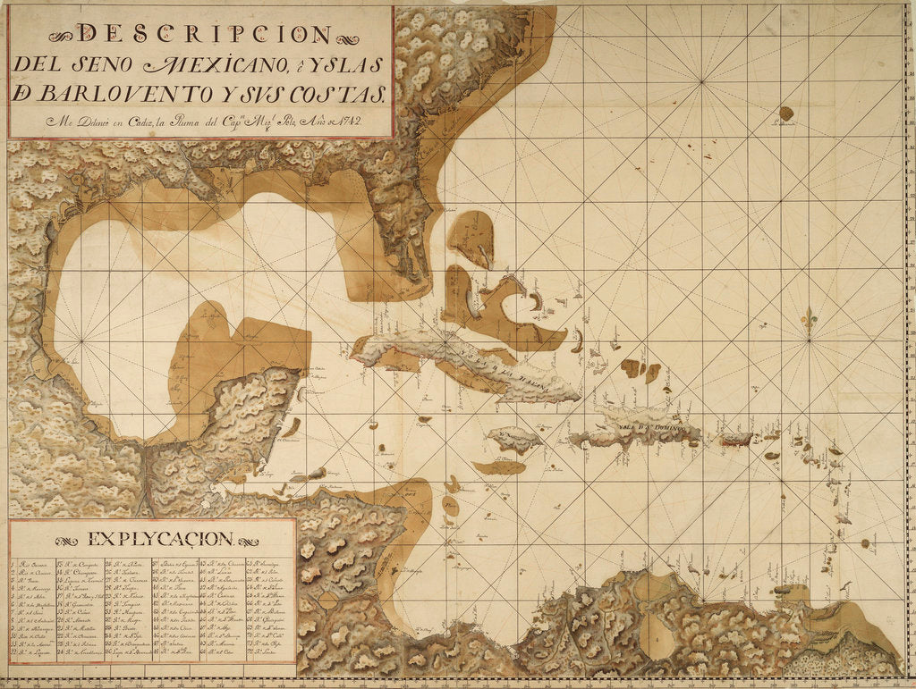 Detail of Chart of the Gulf of Mexico and Caribbean islands, 1742 by Miol Polo