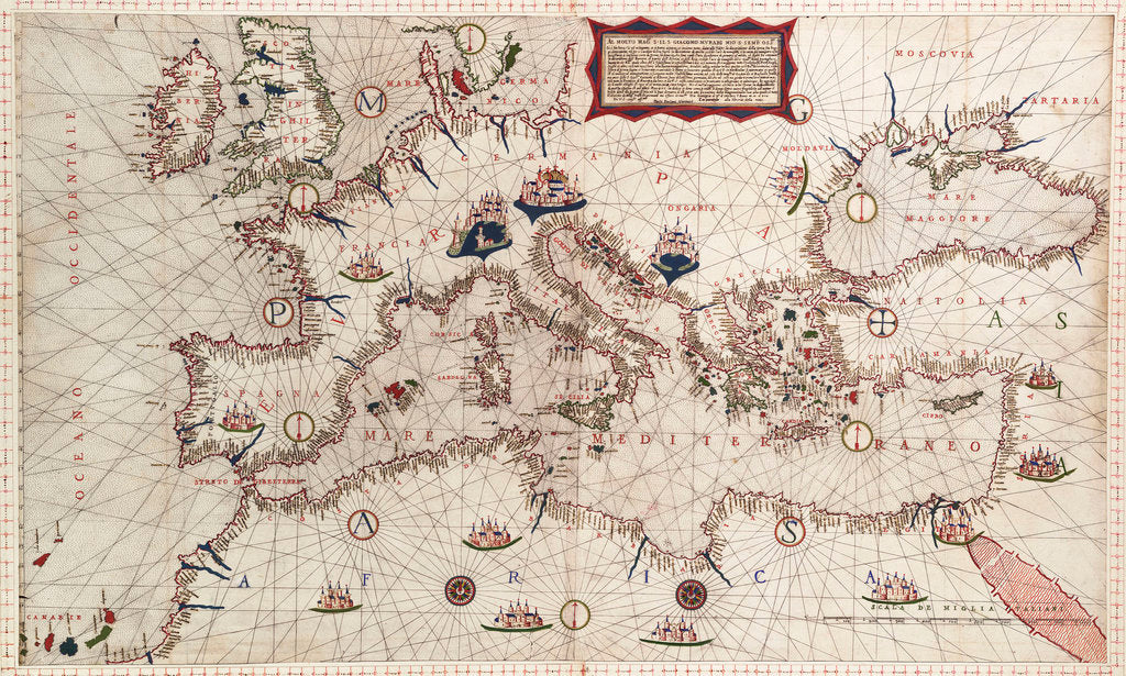Detail of Chart of Mediterranean, Black and Caspian Seas, 16th century by Paulo Forlani