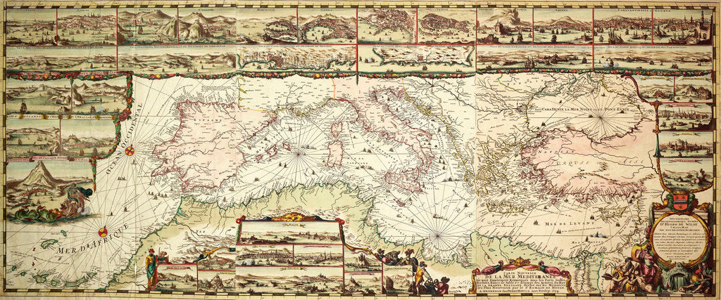 Detail of Chart of the Mediterranean, 1694 by Romain de Hooge