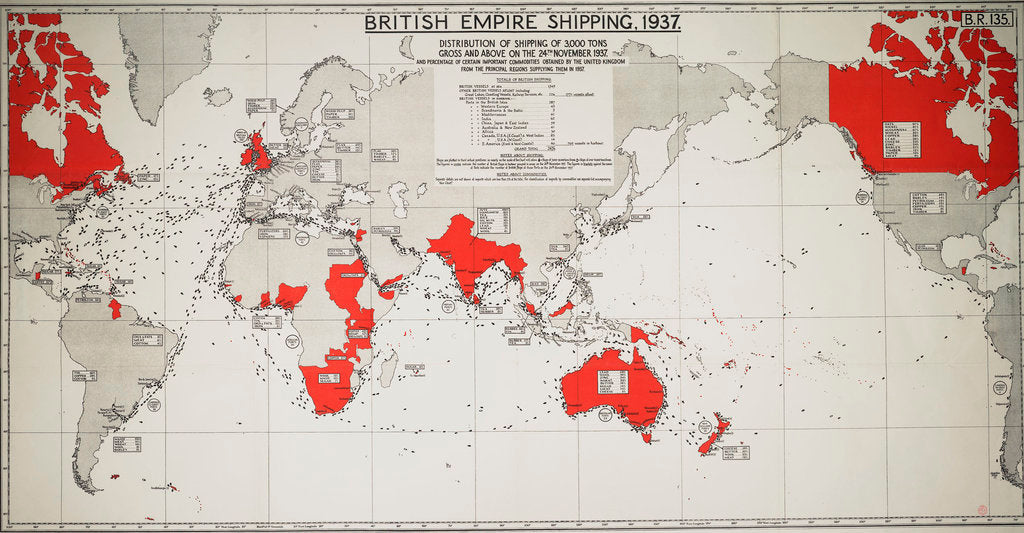 Detail of British Empire shipping 1937: distribution of shipping of 3,000 tons gross and above on 24 November 1937 by Admiralty