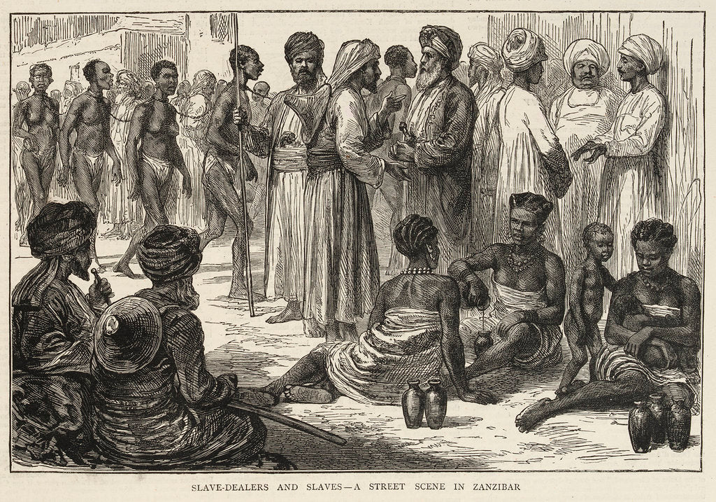 Detail of Slave dealers and slaves, a street scene in Zanzibar by unknown