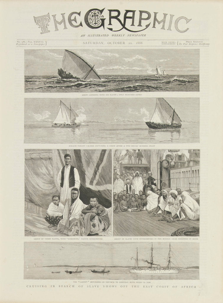 Detail of Cruising in search of slave dhows off the coast of Africa by unknown