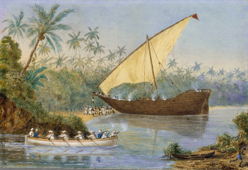 Detail of HMS 'London' chasing a slaving dhow near Zanzibar by Robert O'Donelan Ross-Lewin