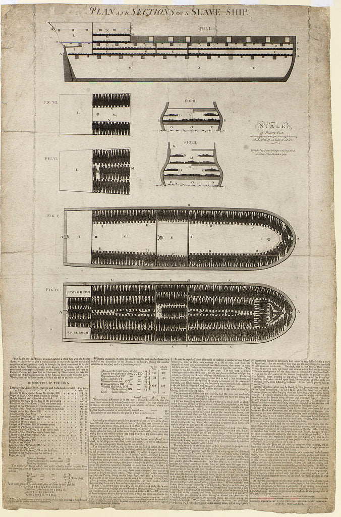 Detail of Plan and sections of slave ship 'Brooks' [sometimes 'Brookes'] by unknown