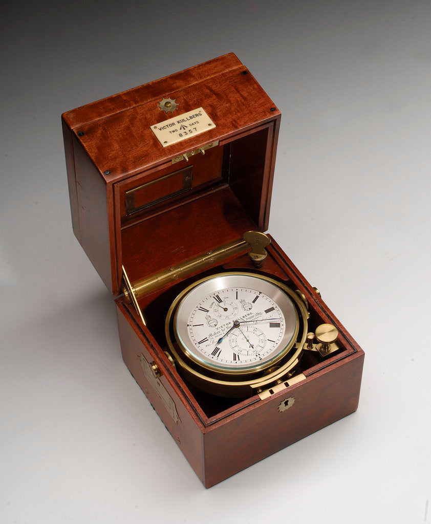 Detail of Marine chronometer in case by Victor Kullberg