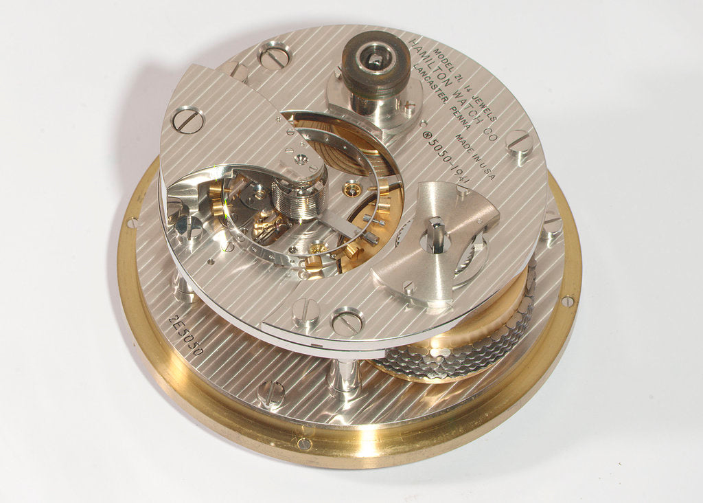 Detail of Marine chronometer, movement by Hamilton Watch Co.