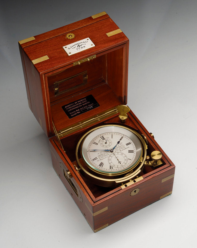 Detail of Marine chronometer in case by Johannsen