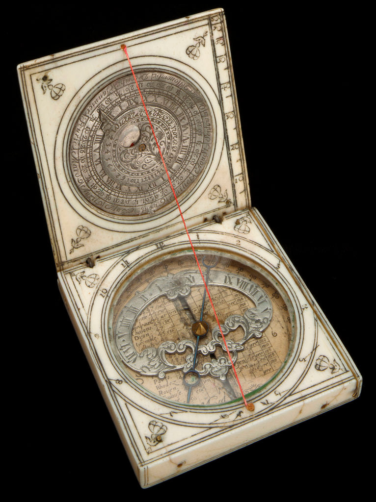 Detail of Dieppe magnetic azimuth dial, leaves Ib and IIa by unknown