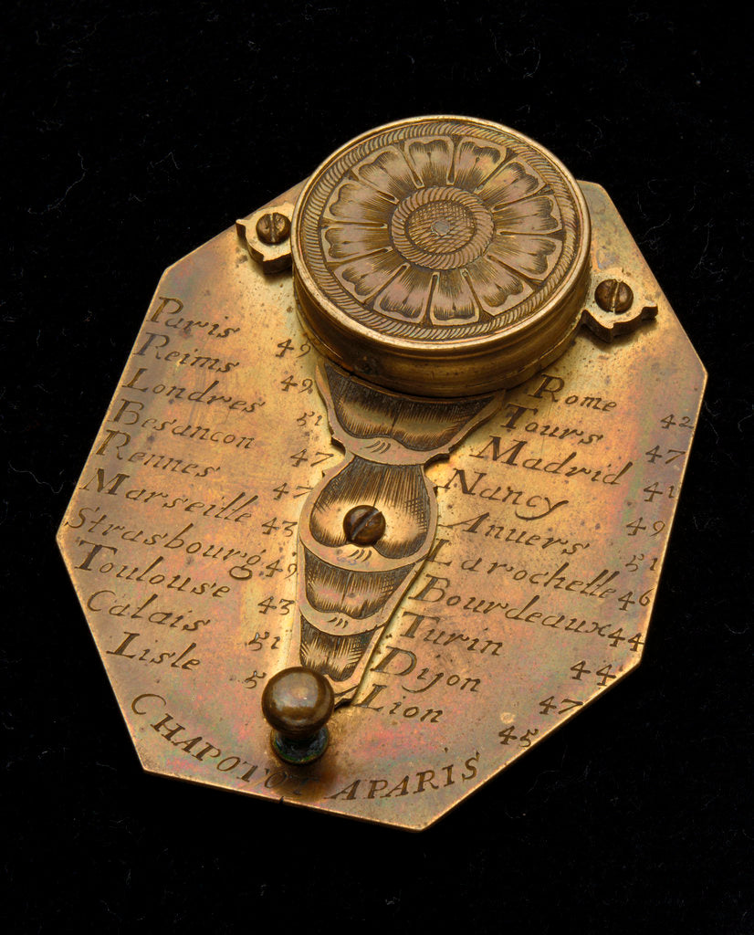 Detail of Butterfield dial for latitudes 35˚-60˚ north, reverse by Chapotot
