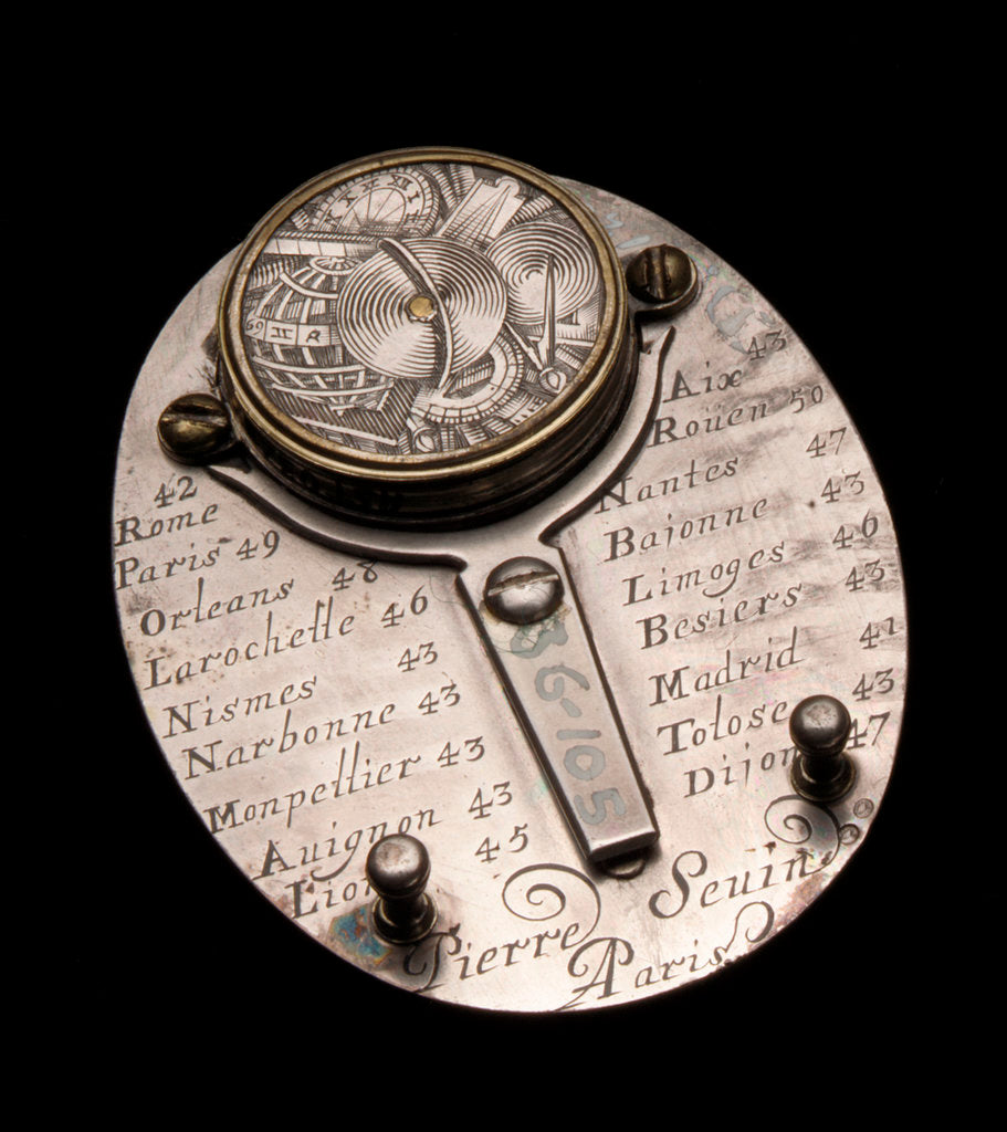 Detail of Butterfield dial, reverse by Pierre Sevin