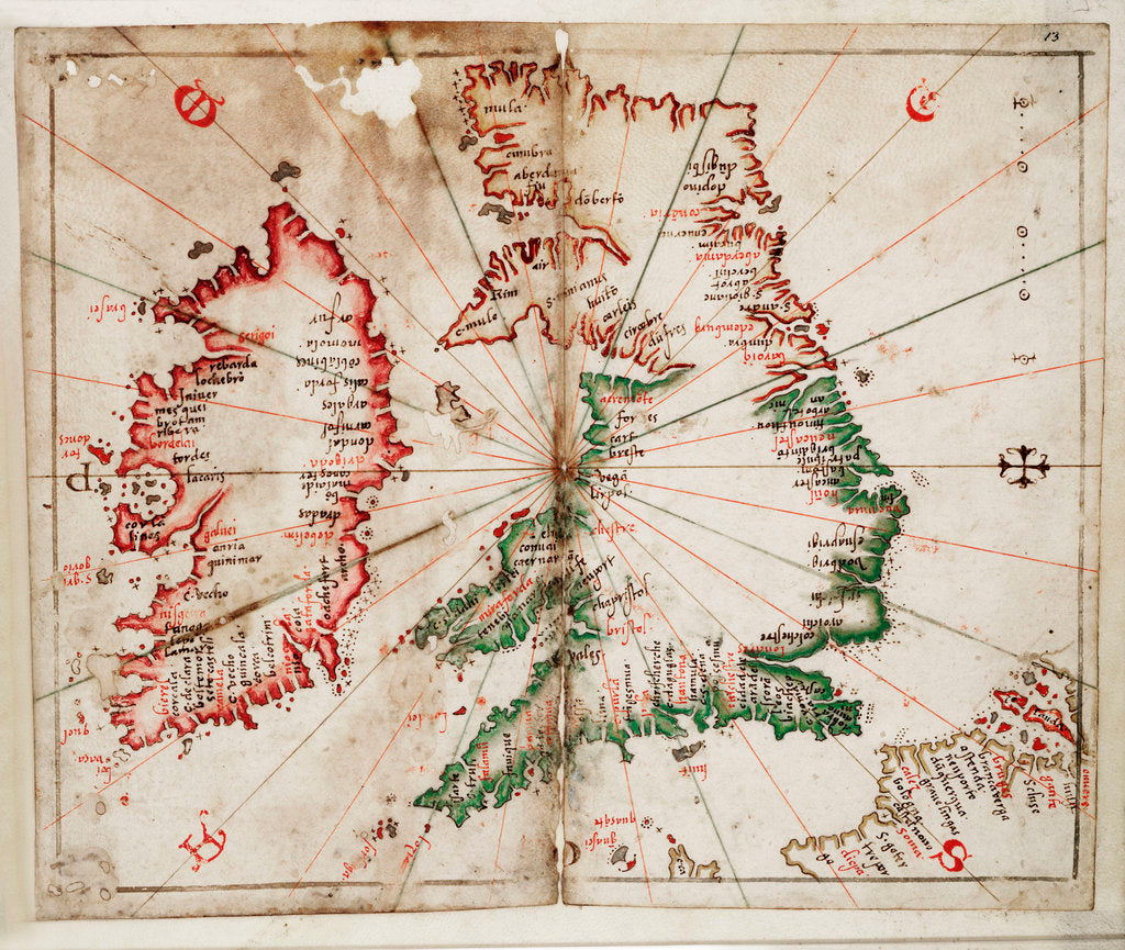 Detail of Britain and Ireland by Joan Martines