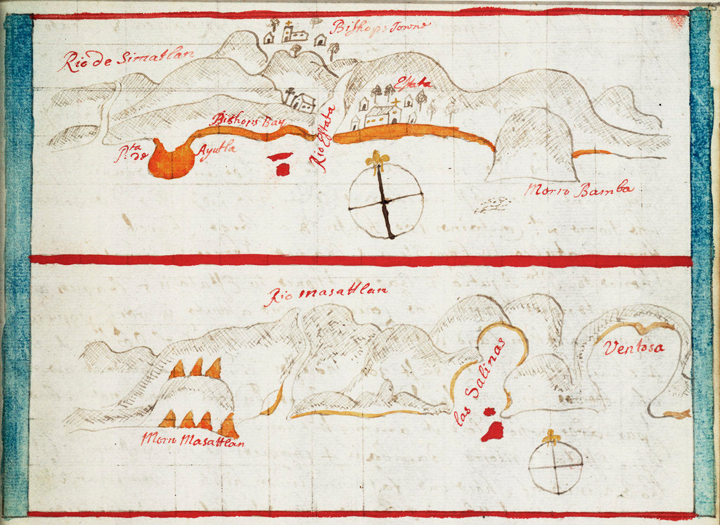 Detail of Chart of Santiago Astata and Bahia Ventosa by Basil Ringrose
