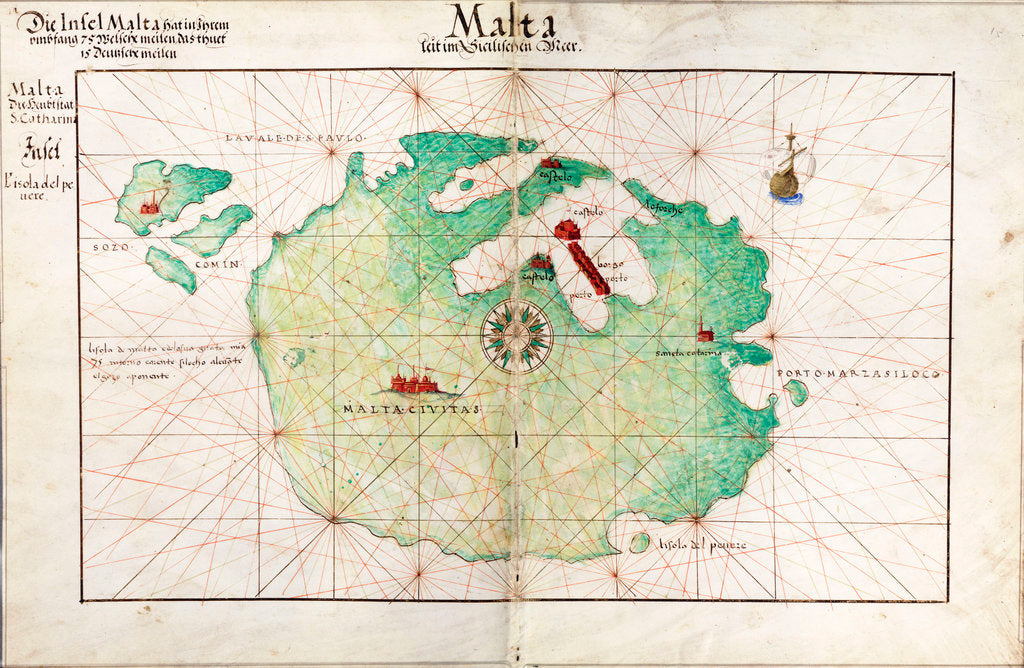Detail of Map of Malta by Battista Agnese