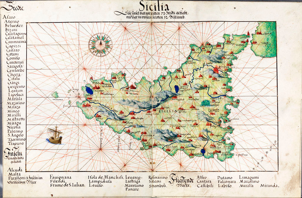Detail of Chart of Sicily, 1554 by Battista Agnese