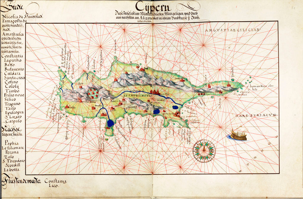 Detail of Vellum chart of Cyprus, 1554 by Battista Agnese