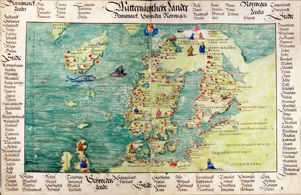Detail of Map of Scandinavia, 1554 by Battista Agnese