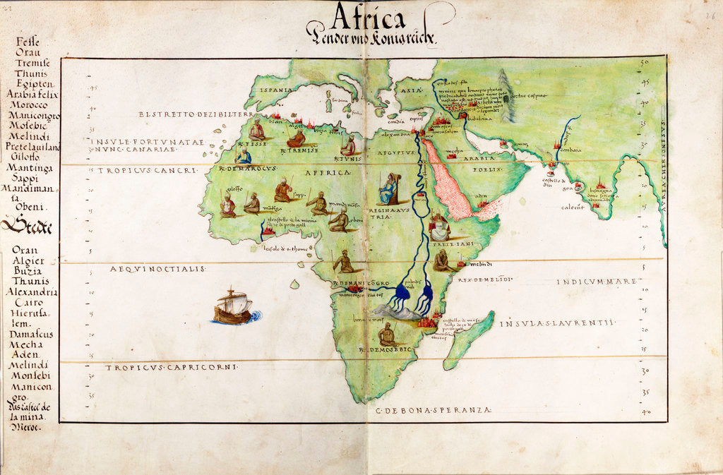 Detail of Vellum chart of Africa, India and the Mediterranean by Battista Agnese