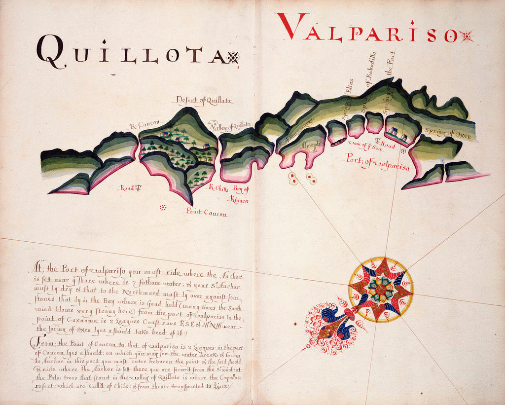 Detail of Quillota and Valpariso, South American Pacific coast by William Hack