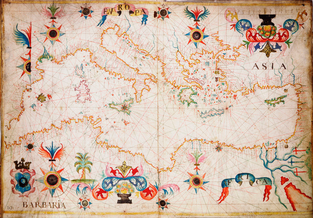 Detail of Portulan chart of western Mediterranean by unknown