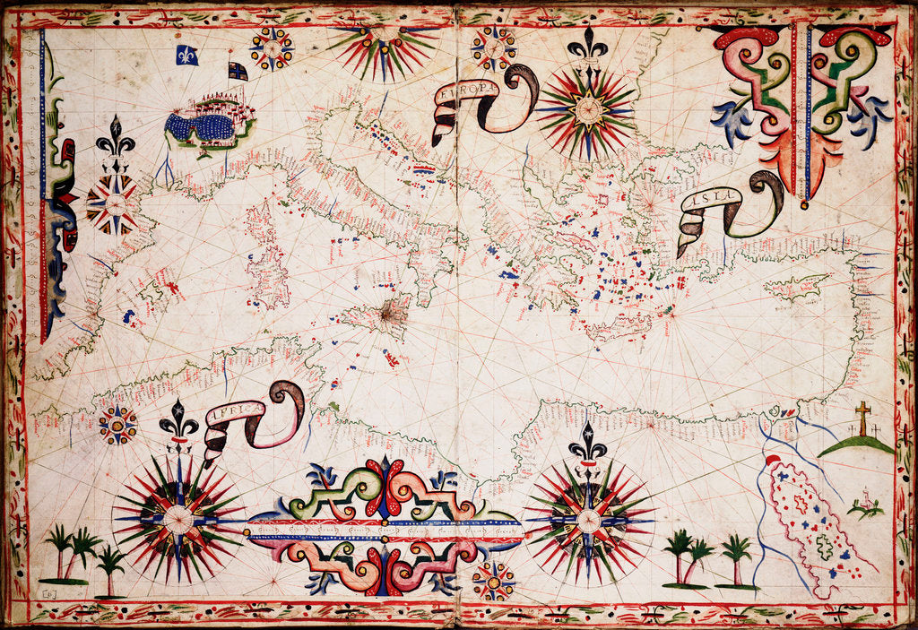 Detail of Chart of Mediterranean, Black and Caspian Seas by unknown