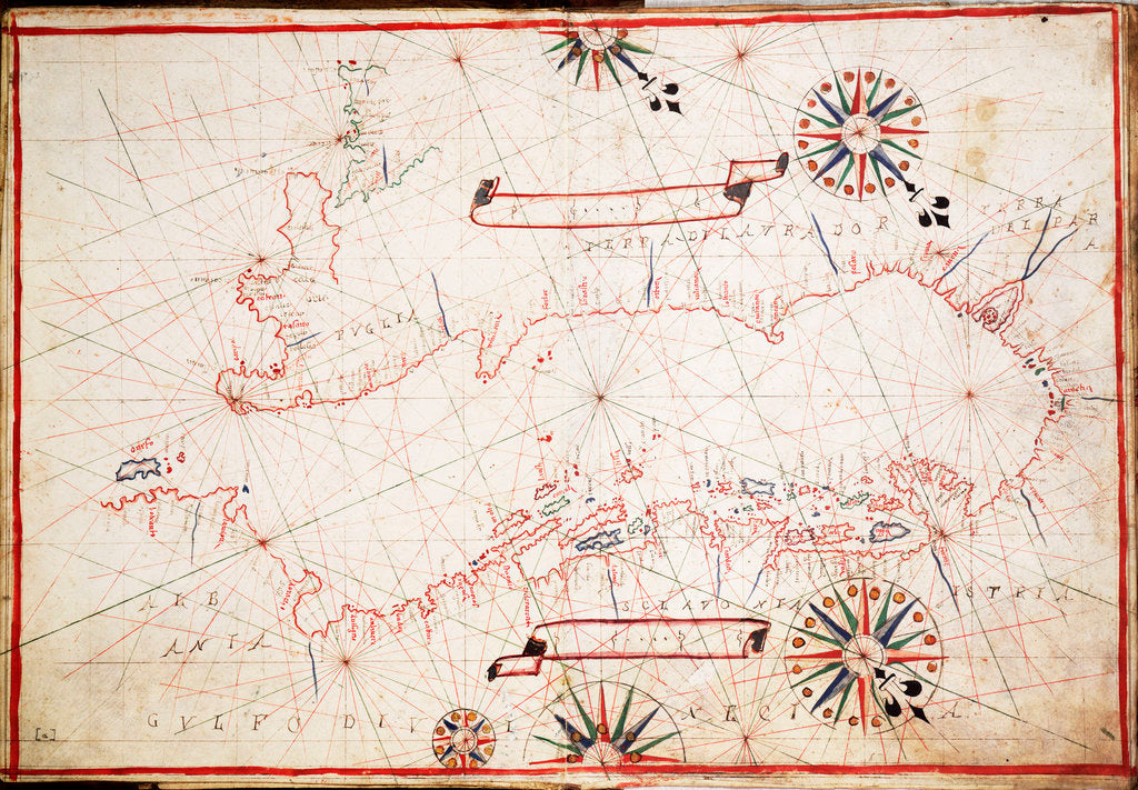 Detail of Adriatic chart, circa 1620 by unknown