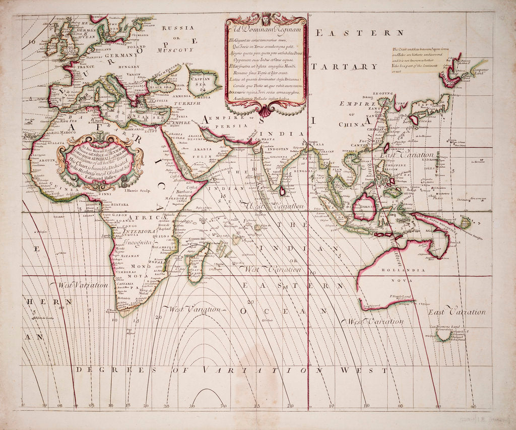 Detail of A new and correct sea chart of the whole world showing the variations of the compass as they were found in the year 1700 by Edmond Halley