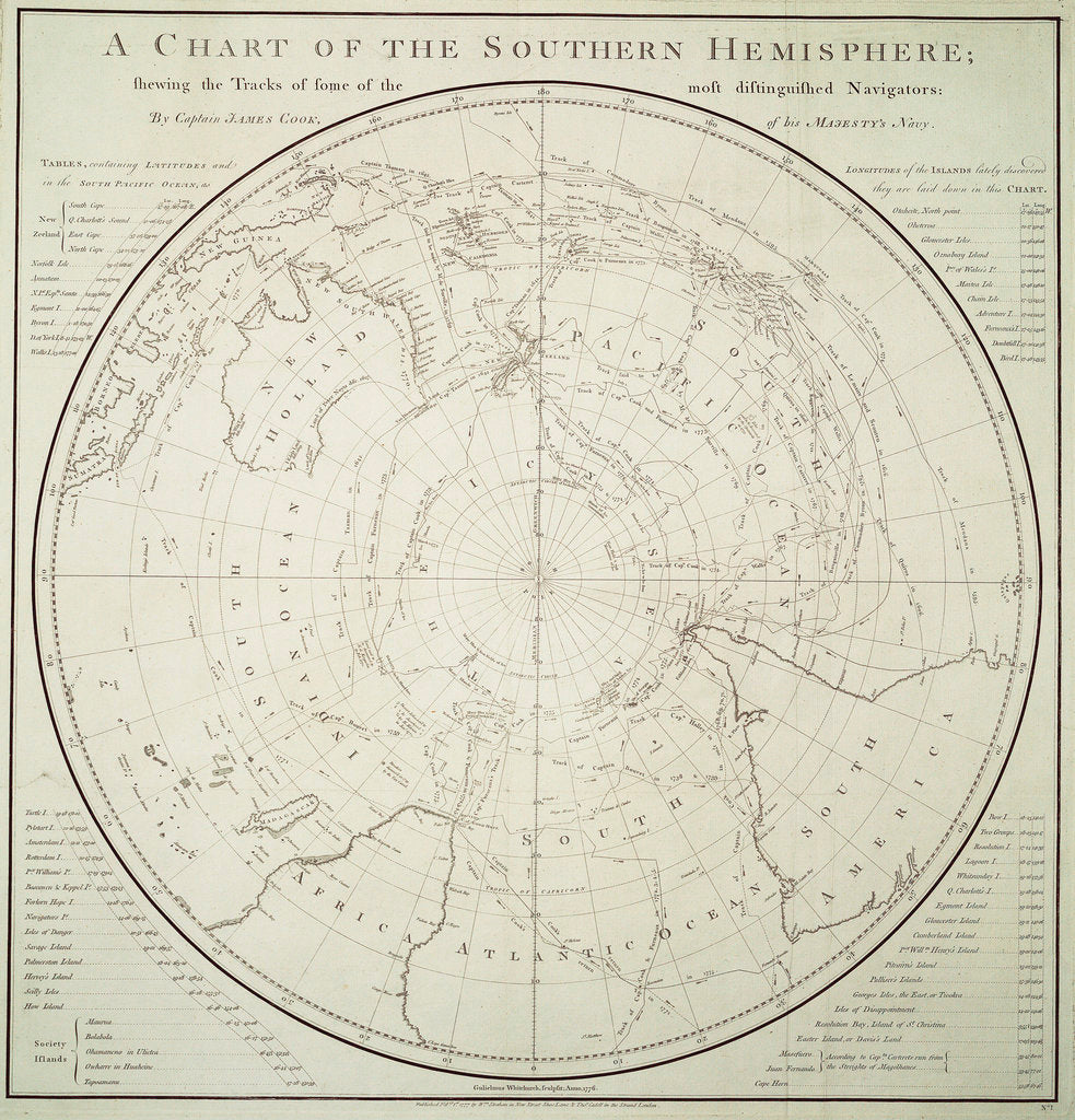 Chart of the Southern Hemisphere showing pre-Cook journeys and discoveries by James Cook