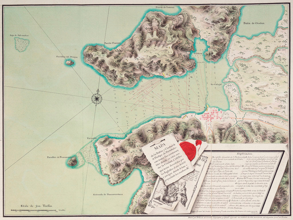 Detail of Map of the bay and city of S. Phelipe de Portobelo by Luis de Surville