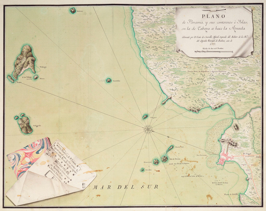 Detail of Map of Panama by Luis de Surville