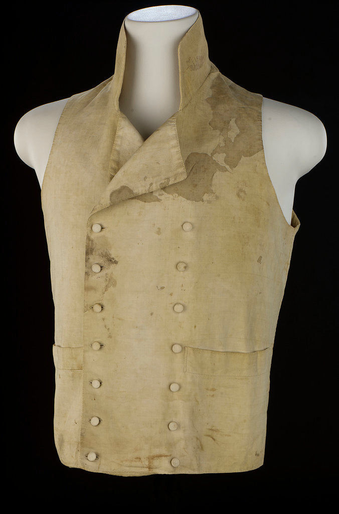 Detail of Non-regulation waistcoat worn by Horatio Nelson (1758-1805) at Trafalgar by unknown