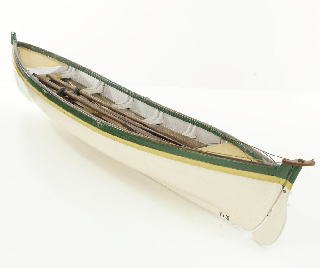 Detail of Full hull model, whaler, port stern quarter by unknown