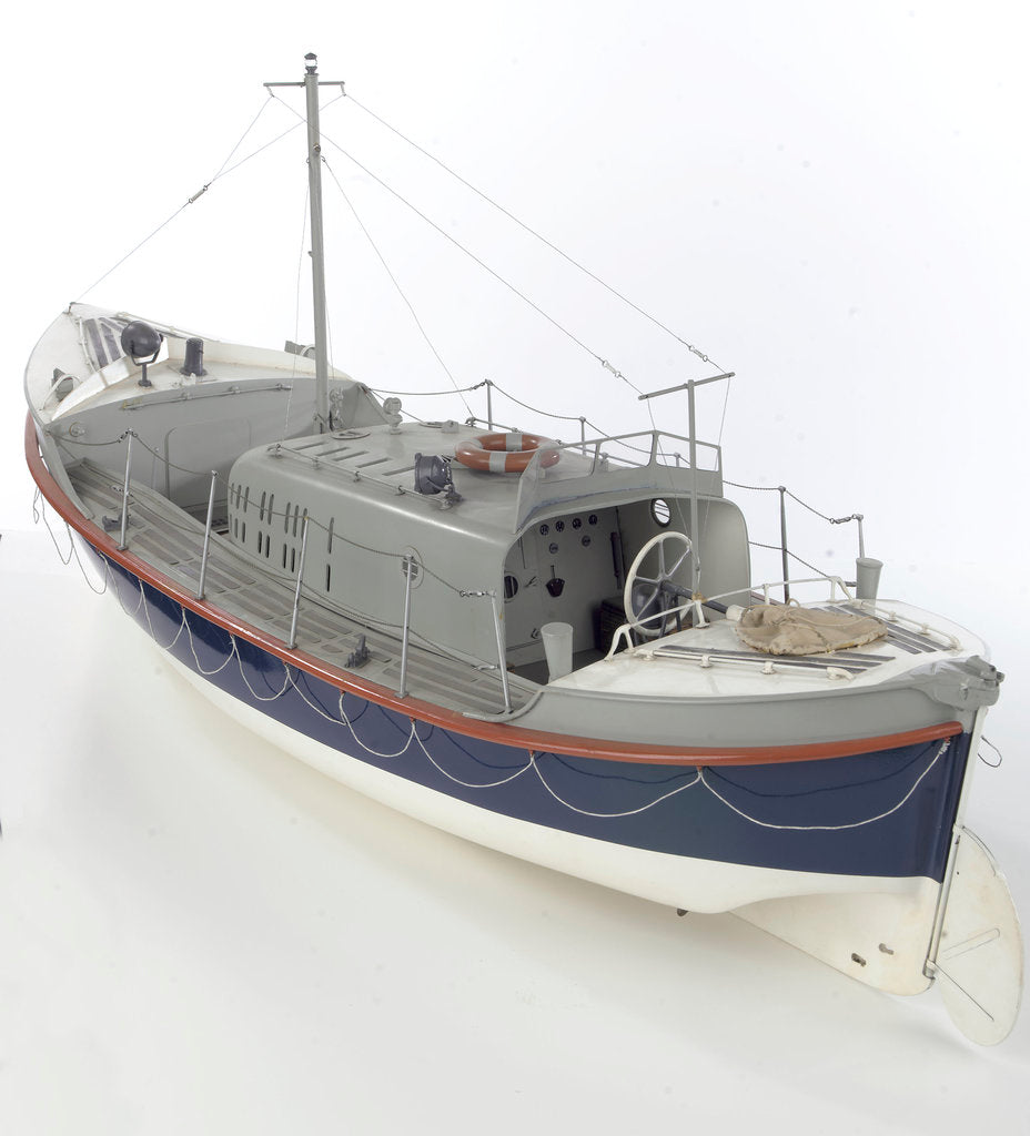 Detail of Full hull model, Oakley Mark II self-righting lifeboat, port stern quarter by unknown