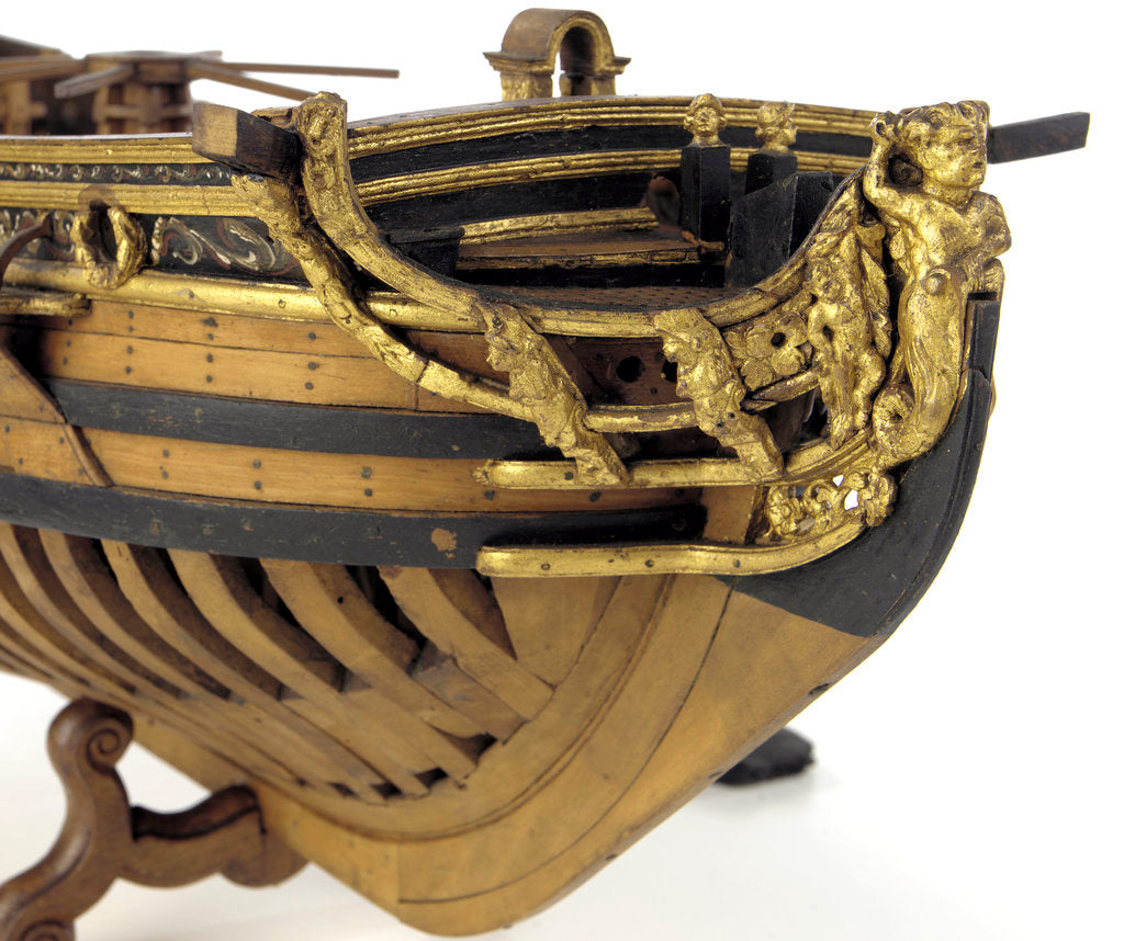 Detail of Full hull model, yacht, figurehead by unknown