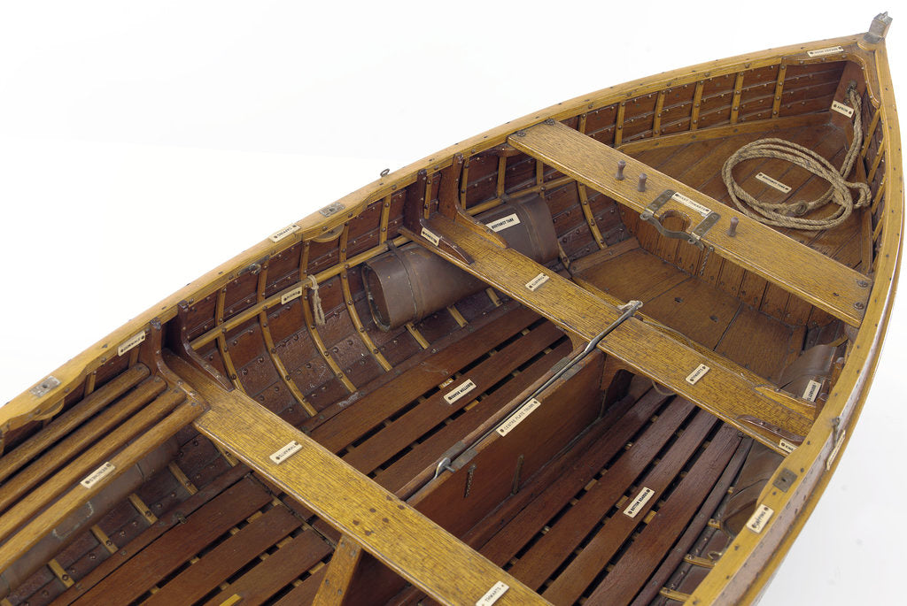 Detail of Full hull model, dinghy, interior detail by unknown