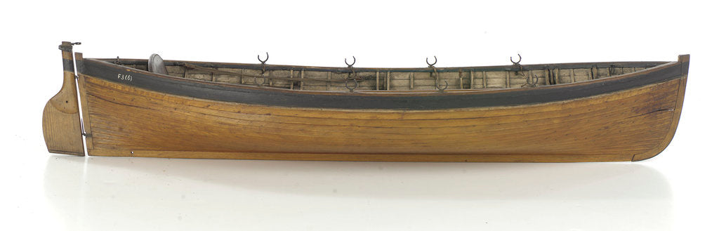 Detail of Full hull model, 8-oared whaleboat, starboard broadside by unknown