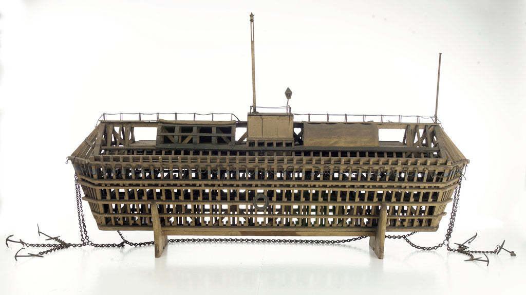 Detail of Design model, refuge asylum, broadside, with mooring chains by unknown