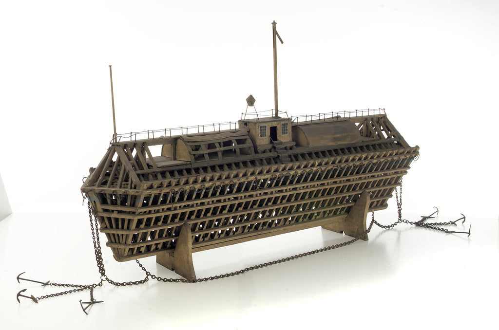 Detail of Design model, refuge asylum, with mooring chains by unknown