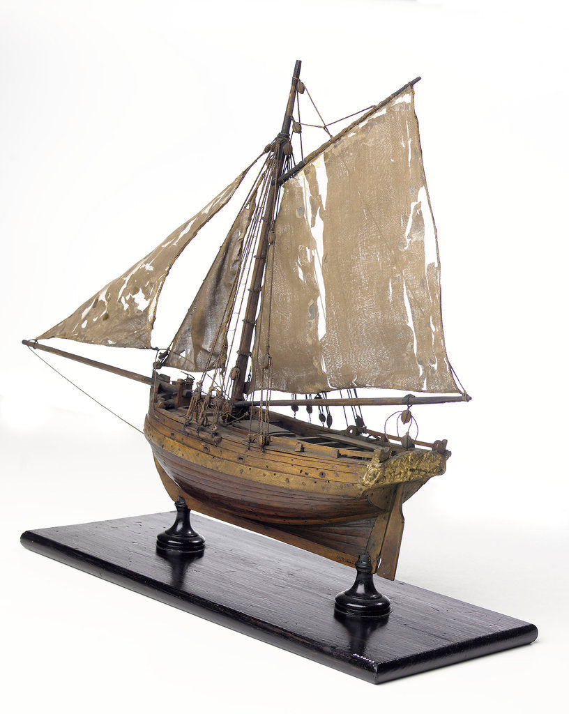 Detail of Full hull model, cutter type yacht, port stern quarter by unknown