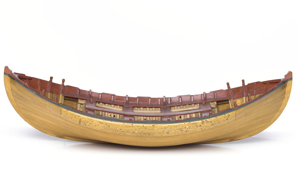 Detail of Full hull model, Greathead lifeboat, broadside by unknown