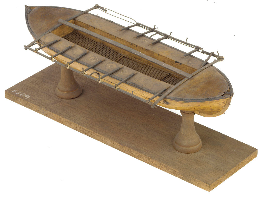 Detail of Full hull model, 16-oar outrigger lifeboat, port stern quarter deck by unknown