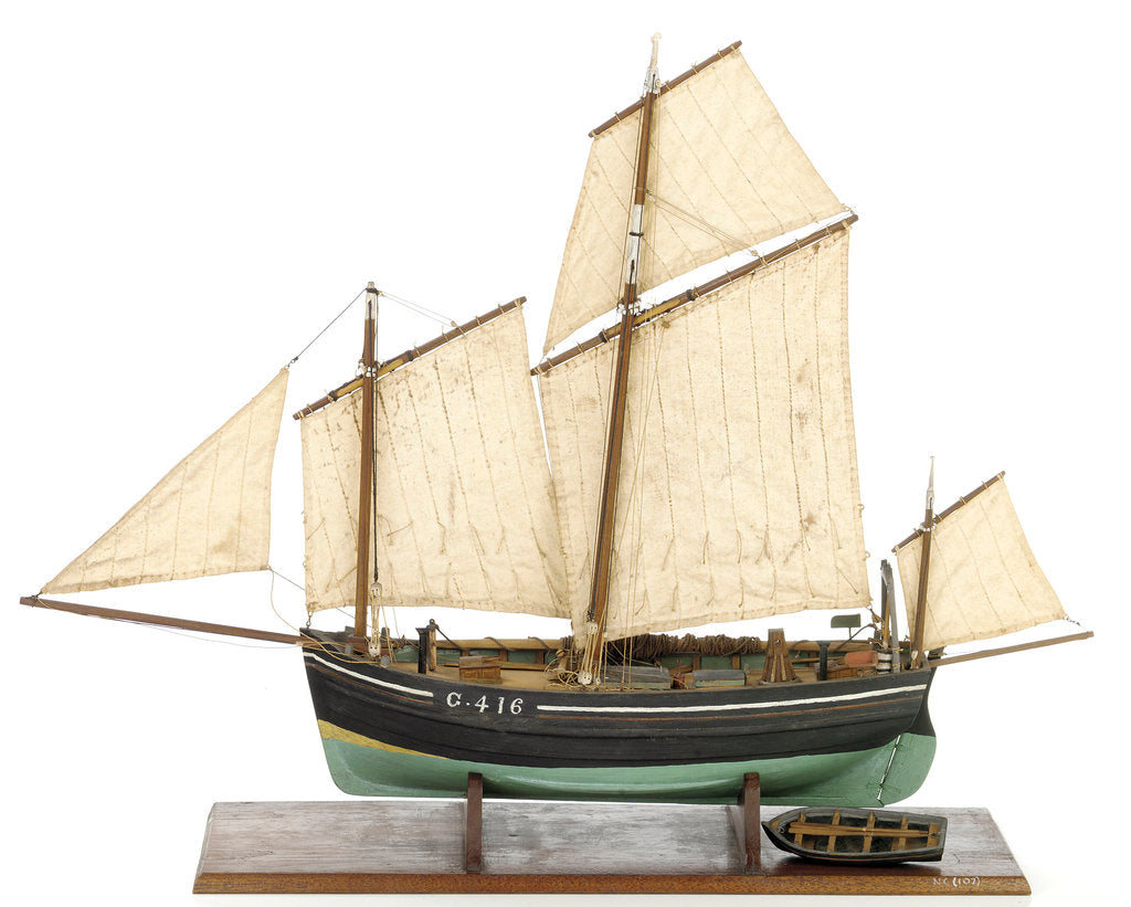 Detail of Full hull model, chasse marie, port broadside by unknown