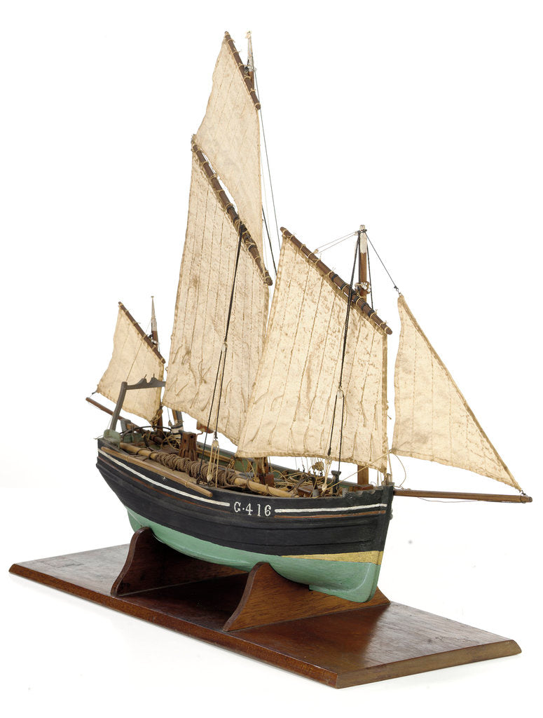 Detail of Full hull model, chasse marie, starboard by unknown