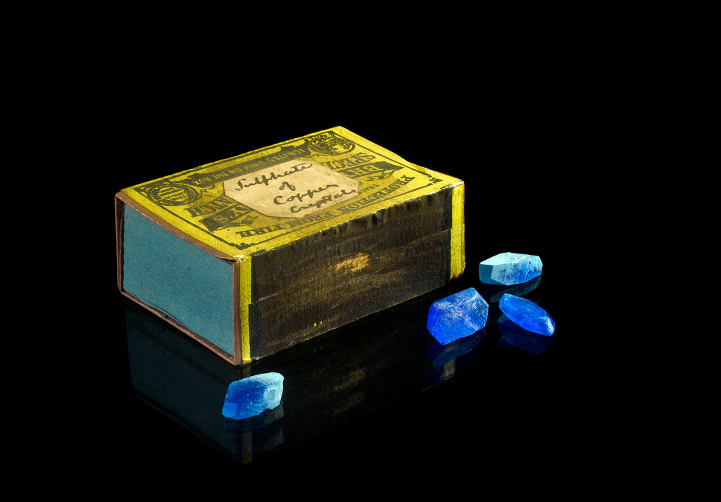 Detail of Matchbox containing eighteen copper sulphate crystals by unknown