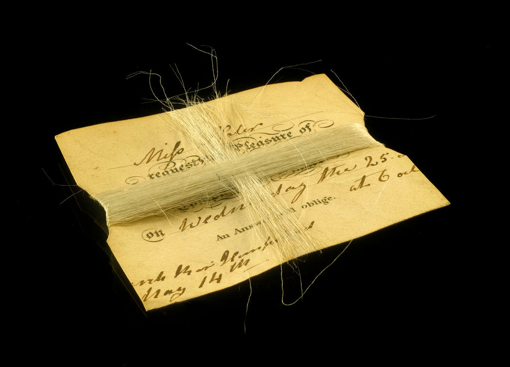 Detail of Horsehair wrapped around an invitation card from Miss Slater to Mr Herschel by unknown