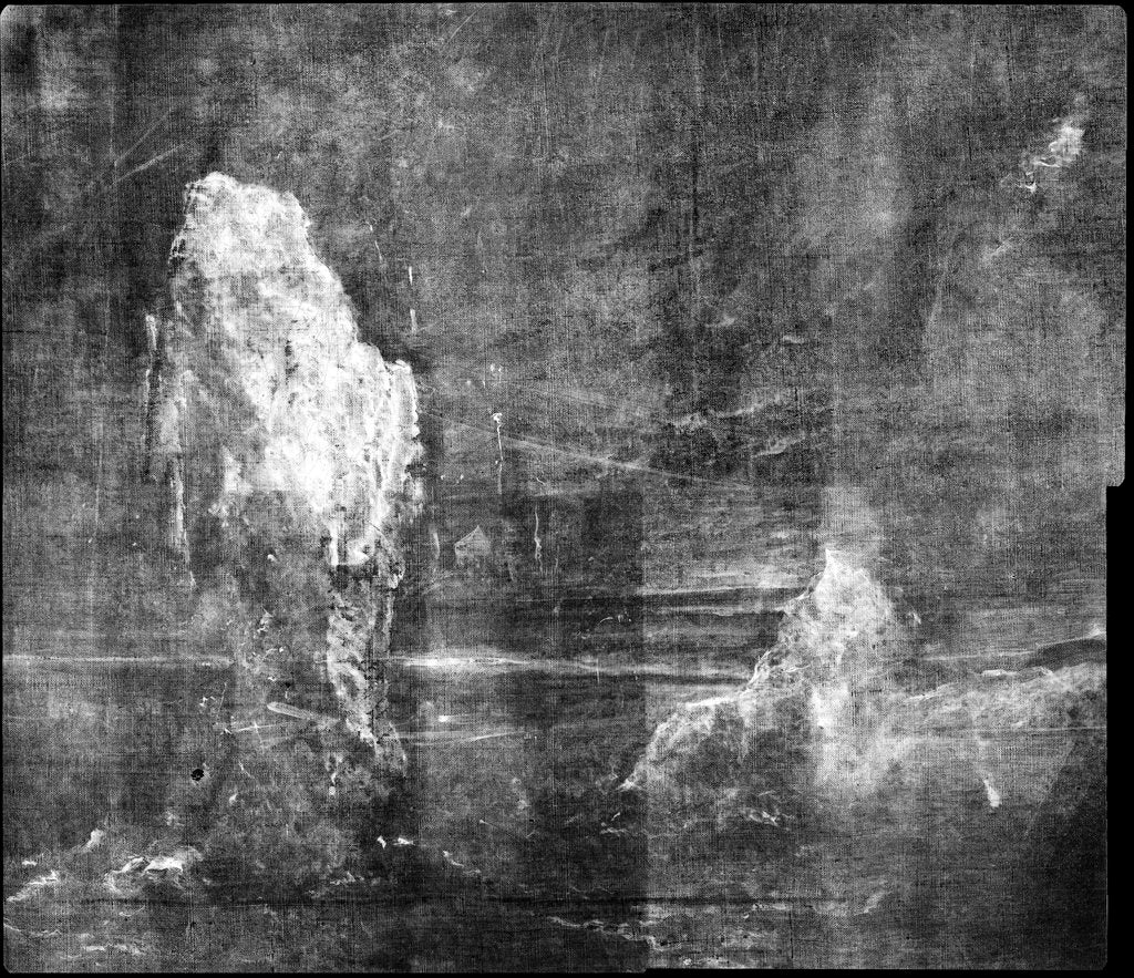 Detail of X-ray detail showing under-painting of icebergs in BHC2370 'View in Pickersgill Harbour, Dusky Bay, New Zealand' by William Hodges by William Hodges