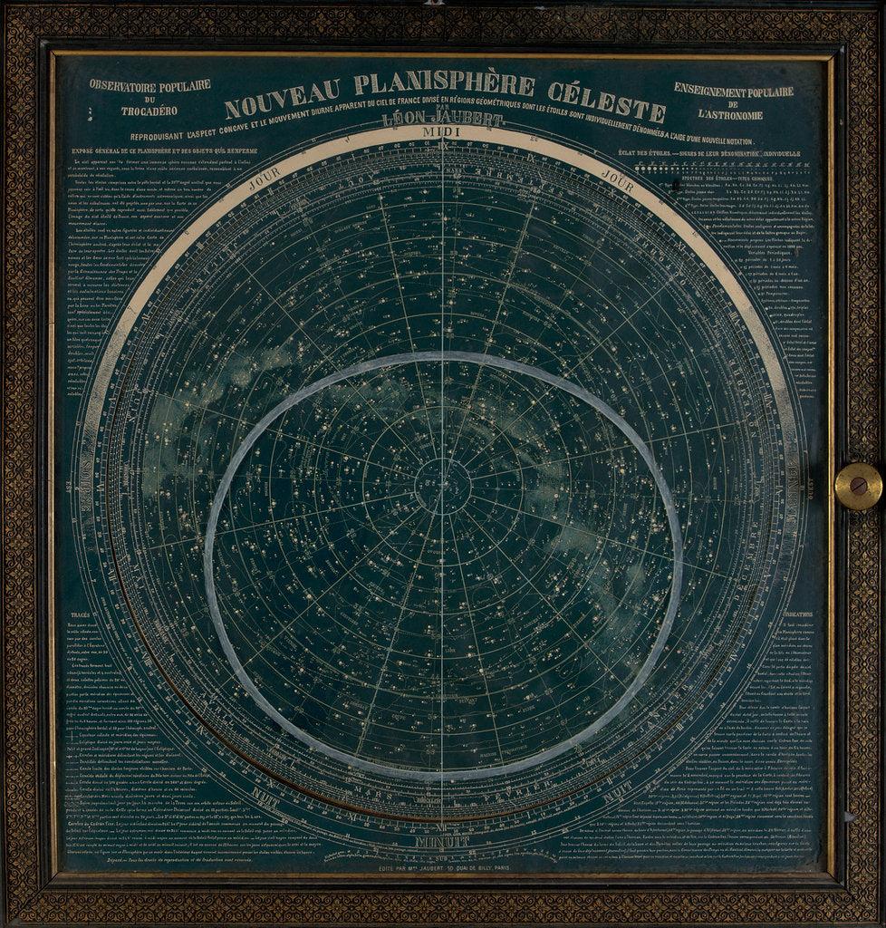 Detail of A planisphere printed in white on a dark blue background by Leon Jaubert