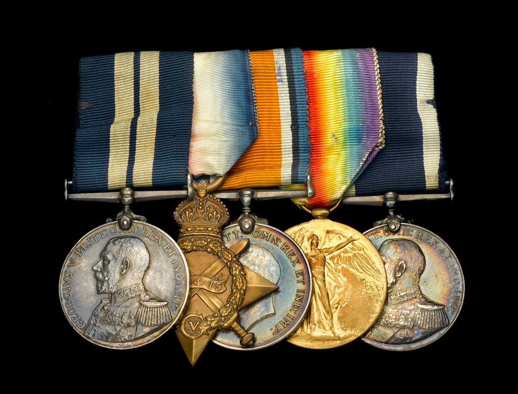 Detail of Medals awarded to Able Seaman Hubert Samuel Bevis DSM (obverse, l to r, MED1303-1307) by B. Mackennal