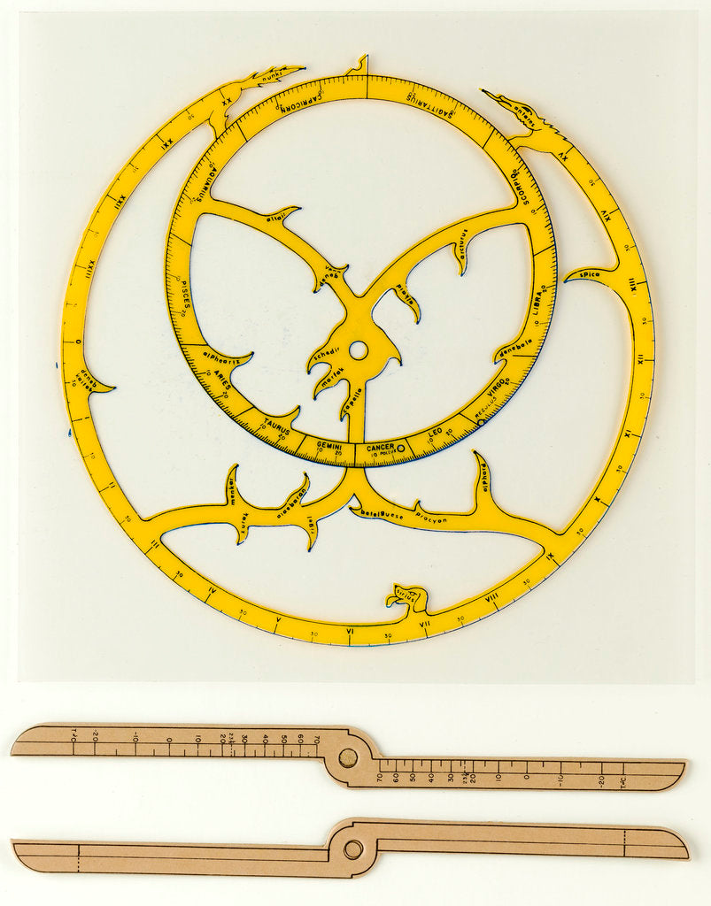 Detail of Cardboard astrolabe kit with instructions for assembly by Glenn Ellen Scientific Company