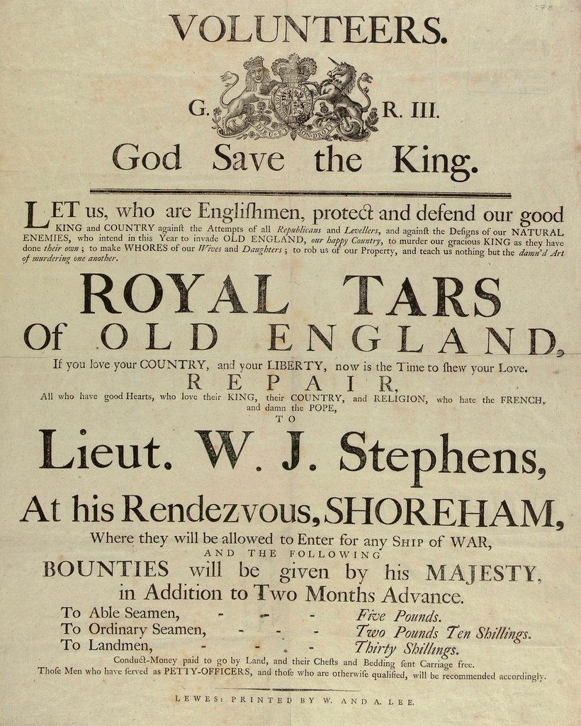 Detail of 'Royal Tars of Old England', a recruitment poster for volunteers by W. & A. Lee