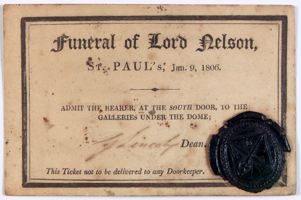 Detail of Ticket to Nelson's funeral in St. Paul's Cathedral by unknown